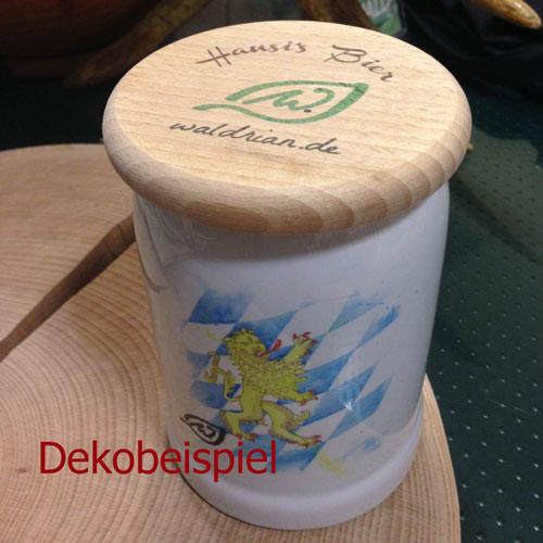 Bierkrugdeckel (Bierglasdeckel) aus Buchenholz bedruckt mit Ihren Wunschmotiv (Staffelpreise)