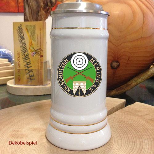Bedruckbarer Bierkrug mit Zinndeckel – narrisch schee