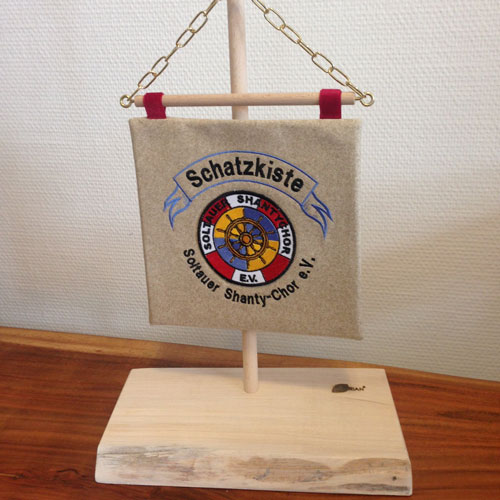 Tischstandarte, quadratisch, ca. 25 cm auf 25 cm
